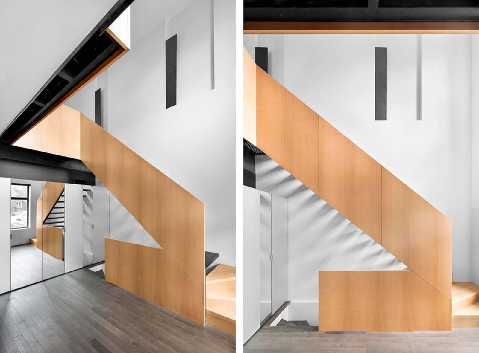 Scala Di Legno Decorativa scala piatta in legno nella drolet residence by