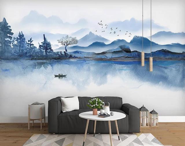 Wallpaper Ruang Tamu Motif Pemandangan Alam