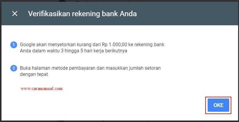 Verifikasi rekening bank Adsense