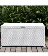 Outdoor 70 Gallon Wicker Deck Storage Box Color White, Wicker Storage Box, Outdoor Storage Boxes, Outdoor Furniture, Outdoor Wicker Furniture,Wicker Outdoor Storage Boxes, Wicker Storage Box, Outdoor Storage Boxes, Outdoor Furniture, Outdoor Wicker Furniture