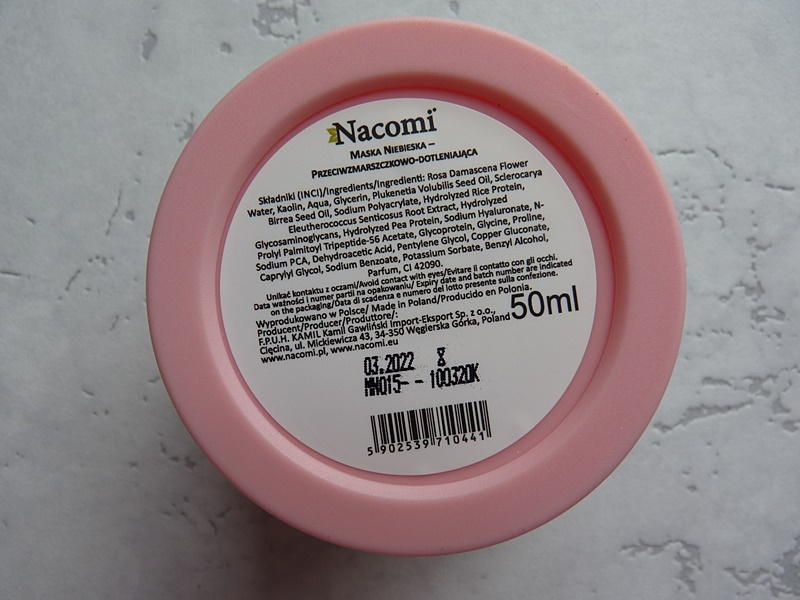 Nacomi, Blue Clay Mask Anti-aging & Oxygenating Skin Tone Perfecting inci ingredients
