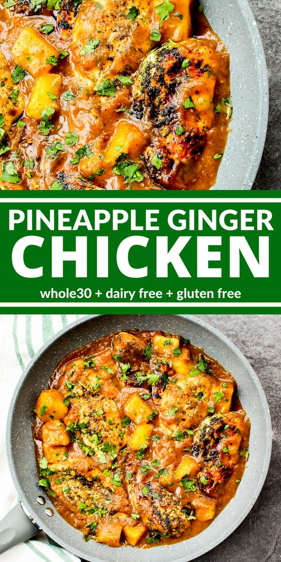 Whole30 Pineapple Ginger Chicken #whole30 #paleo #maincourse #dinner #pineapple #ginger #chicken