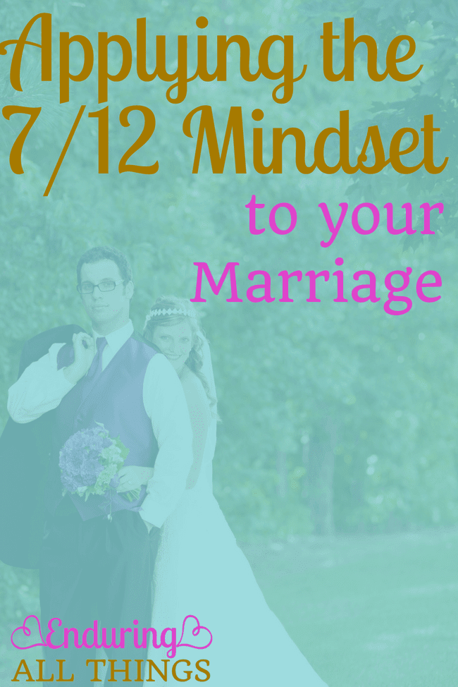 """We all know Matthew 7:12 """"Do unto others..."""" But what does that really mean and how can I apply that to my marriage. Aubrey Johnson calls this the 7/12 mindset. It involves judging yourself by your actions rather than your intentions, and looking for the good rather than the bad in your spouse."""