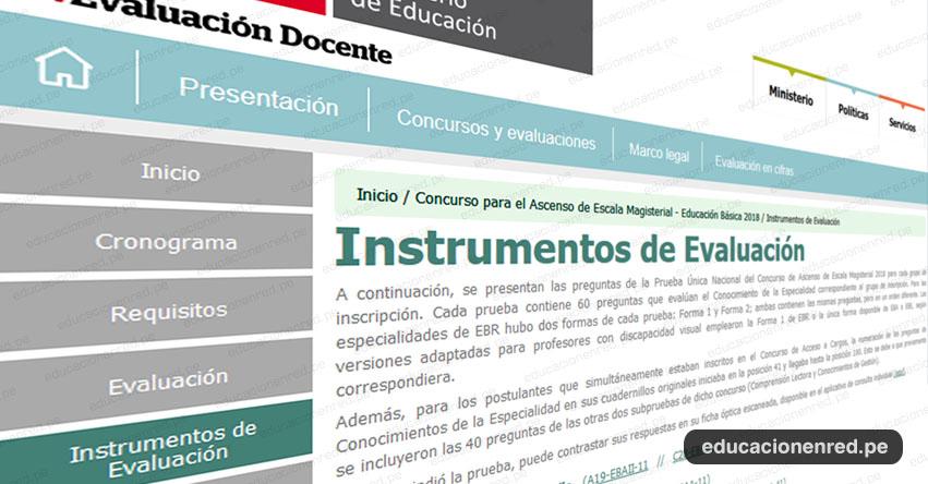 MINEDU: Instrumentos de Evaluación para el Ascenso de Escala Magisterial - Educación Básica 2018 (Prueba Única Nacional) www.minedu.gob.pe