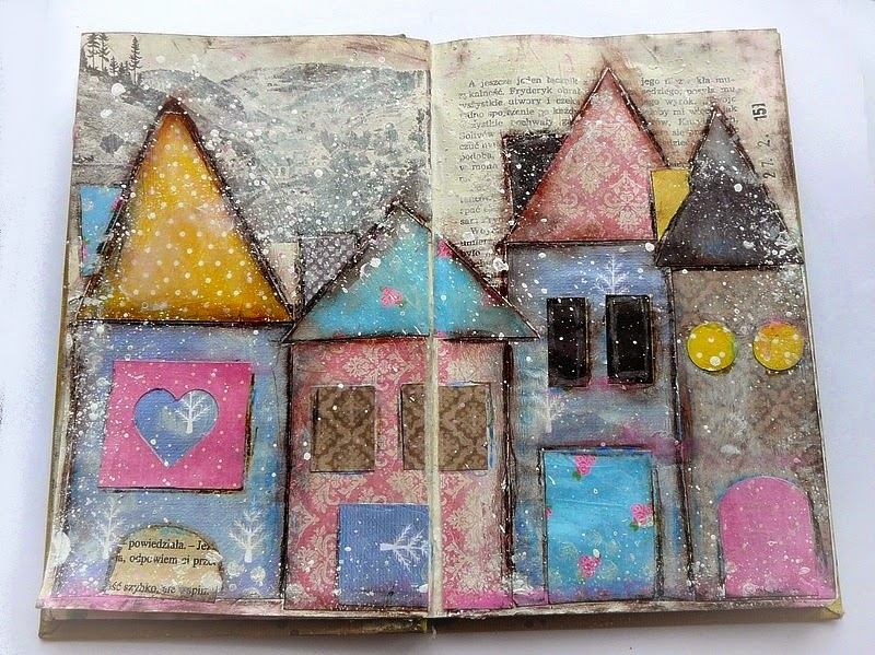 art journal altered art - domki