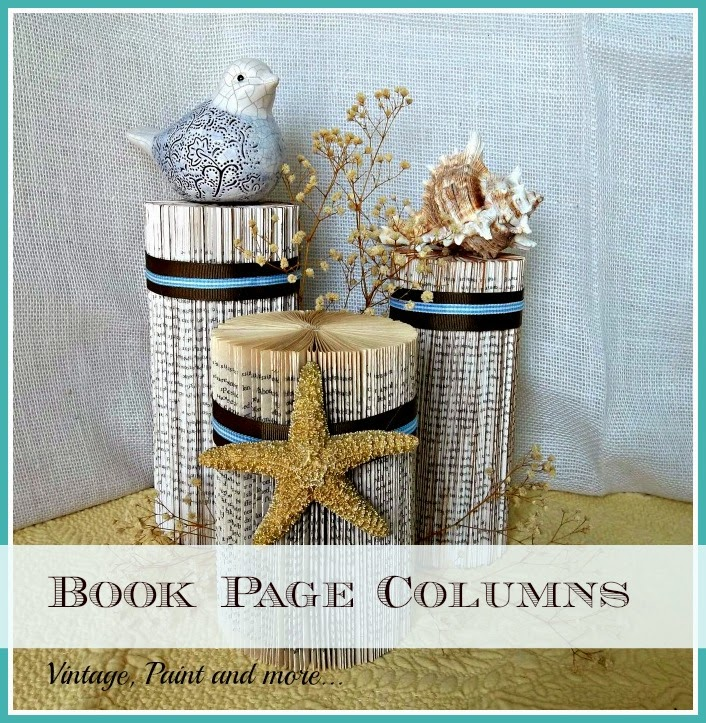 Vintage, Paint and more... decorative display columns DIY'd by folding old paper back books