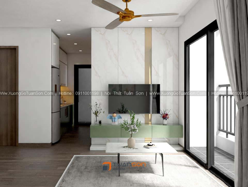 Thiết kế nội thất căn số 12 (52m2) 2PN Phương Đông Green Park