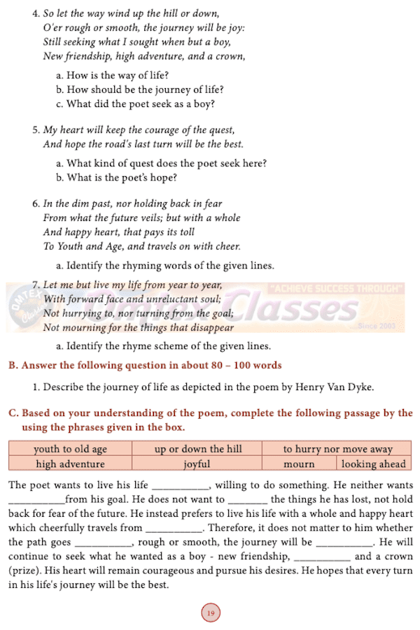 chapter 1.2 - Life [Latest edition] Samacheer Kalvi solutions for English Class 10th SSLC Tamil Nadu State Board