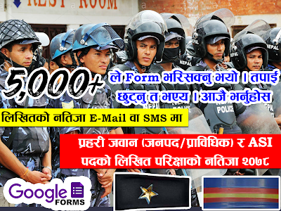 Nepal Police Exam Result 2078 - Police Constable (Janpad/Technical) & ASI (Janpad) in you E-mail or Number ?