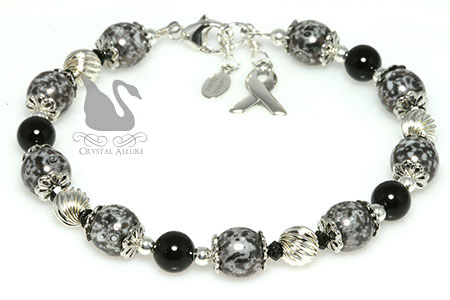 Gray Onyx Crystal Asthma Awareness Bracelet (B078)