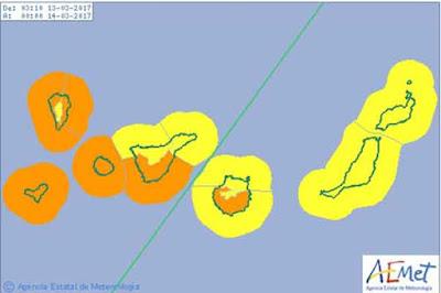 Gran Canaria también en la alerta por viento, lunes 13 marzo
