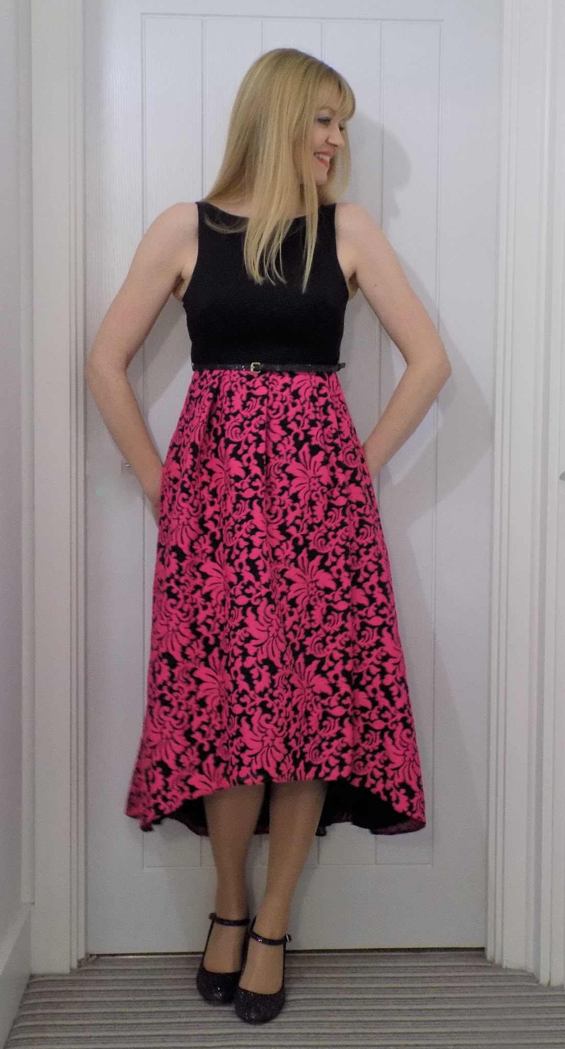 Coast Black party dress with bright pink dipped hem skirt