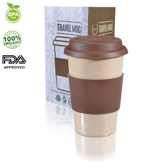 100% Organic mug made with Bio-degradable rice husk material without any chemical additive, for long-lasting use. FDA-Approved and BPA-Free.