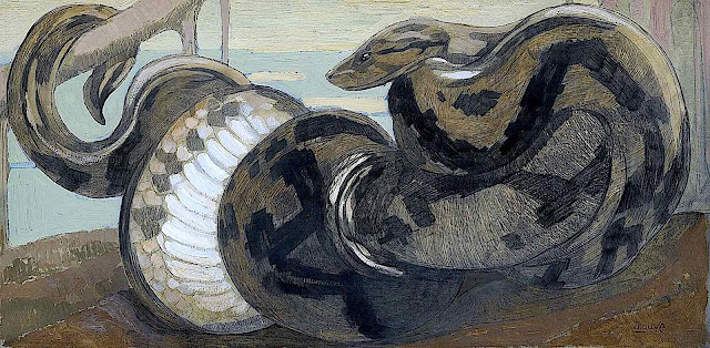 a Paul Jouve illustration of a snake coiled on a branch