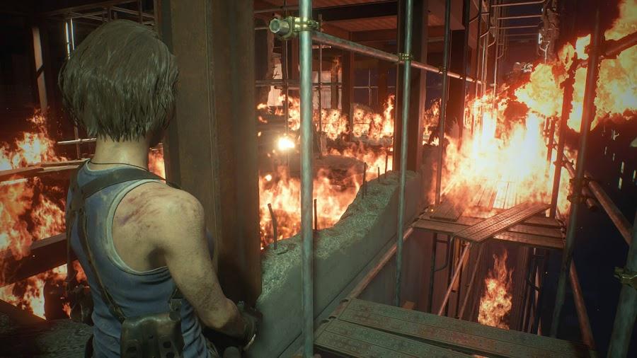 resident evil 3 remake screenshot image jill valentine nemesis explosion
