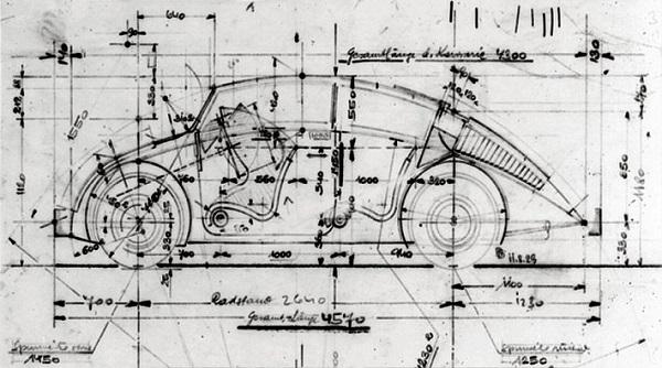 """Boceto que Béla Barényi dibujó en la Universidad sobre el """"Futuro Auto del Pueblo"""""""