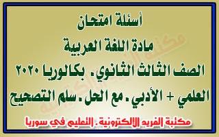 أسئلة امتحان العربي مع الحل بكالوريا علمي + أدبي سوريا 2020