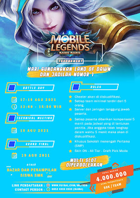 Download Mentahan Contoh Poster Turnamen Mobile Legends (ML) Versi 1