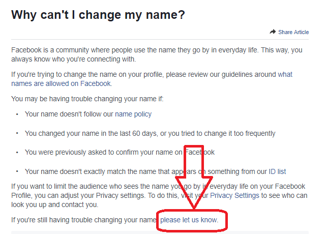 How to change the name on facebook before 60 days