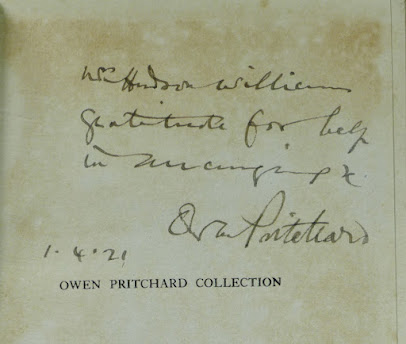 Dedication written by Owen Pritchard in a copy of University College of North Wales, Bangor. The Owen Pritchard Collection of Pottery, Glass and Books (1921)