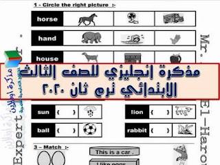 مذكرة لغة انجليزية للصف الثالث الابتدائي ترم ثان 2020