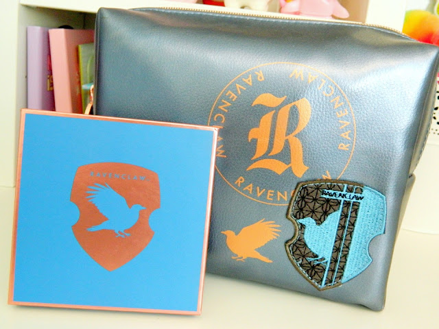 a photo showing a harry potter ravenclaw eyeshadow palette and makeup bag
