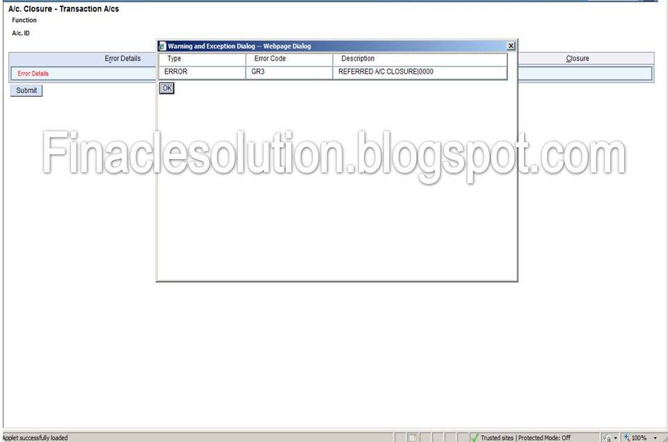 Referred Account Closure Error While closing the SB Account in DOP
