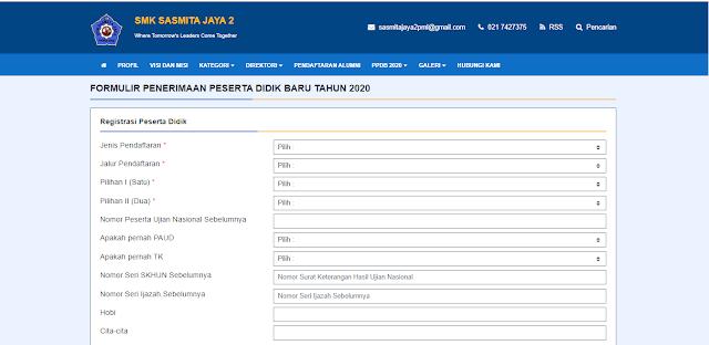 Tampilan Formulir PPDB Online pada Web Sekolah
