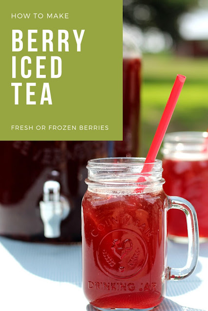 How to make triple berry iced tea. Used mixed berries or raspberry, blackberry, strawberry, or blueberry for this homemade recipe. I recommend making iced tea with Lipton tea bags, or use your favorite. Make this a sweet home made iced tea or omit the sugar for unsweetened. #icedtea #berry #tripleberry #mixedberry