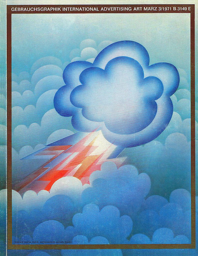 a 1971 airbrush illustration of Gebrauchsgraphik International Advertisin Art, lightning cloud
