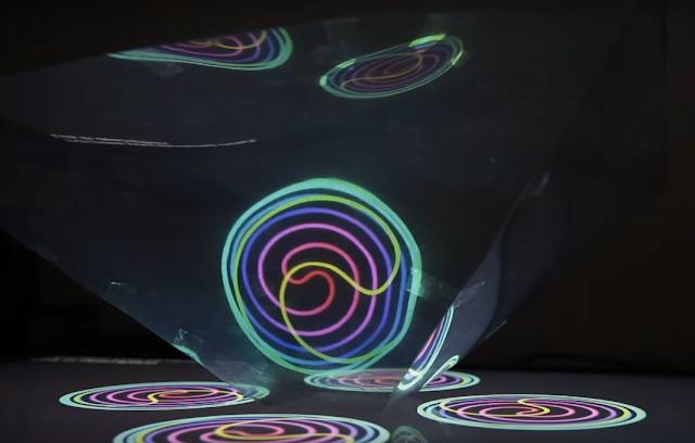 holograma, gigante, estructura, acetato