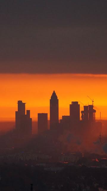 City, sunset, buildings, dusk, clouds
