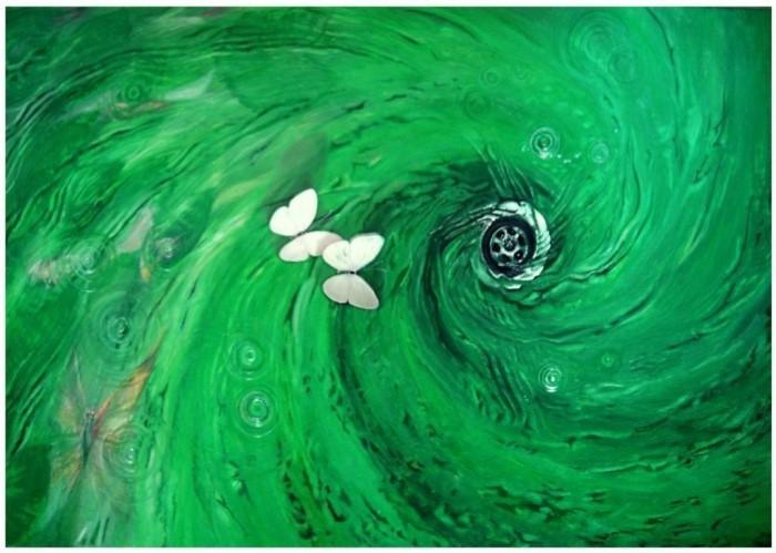 Отрыв или полет над сливным отверстием (оргалит акрил)