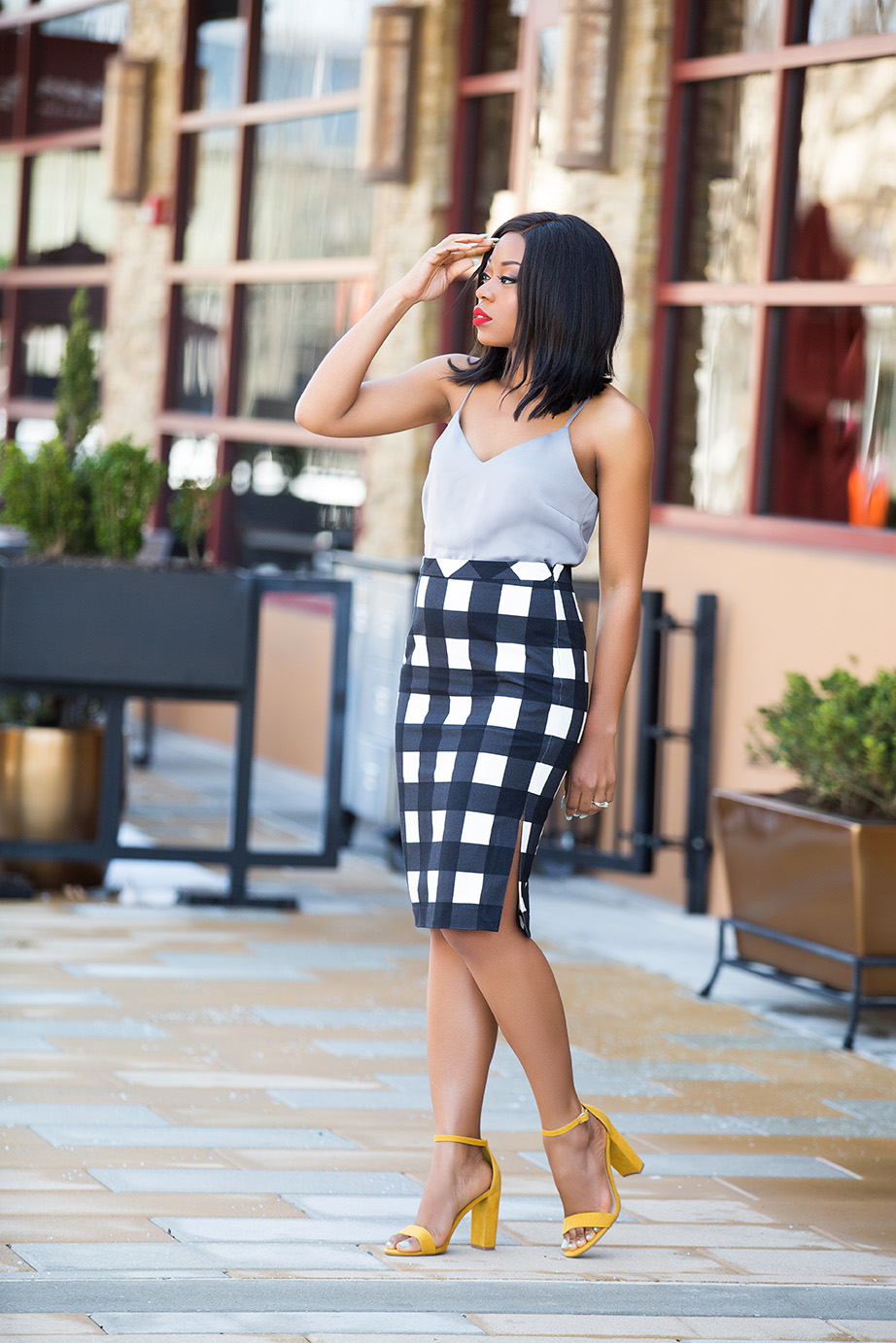 work style, gingham midi pencil skirt, www.jadore-fashion.com