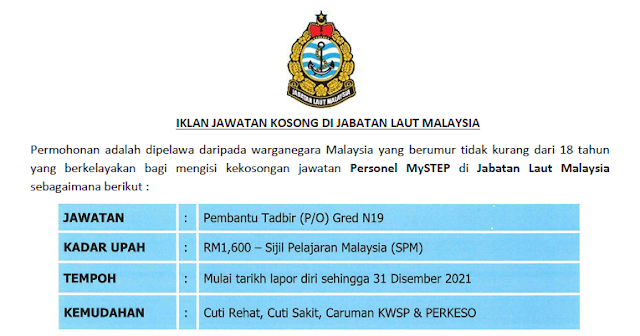 jawatan jabatan laut malaysia