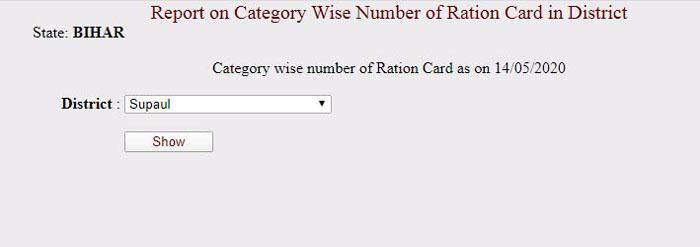 Bihar New Ration Card List 2020