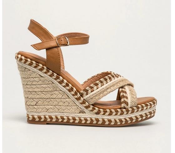 Sandale bej cu platforma inalt de vara casual din material textil
