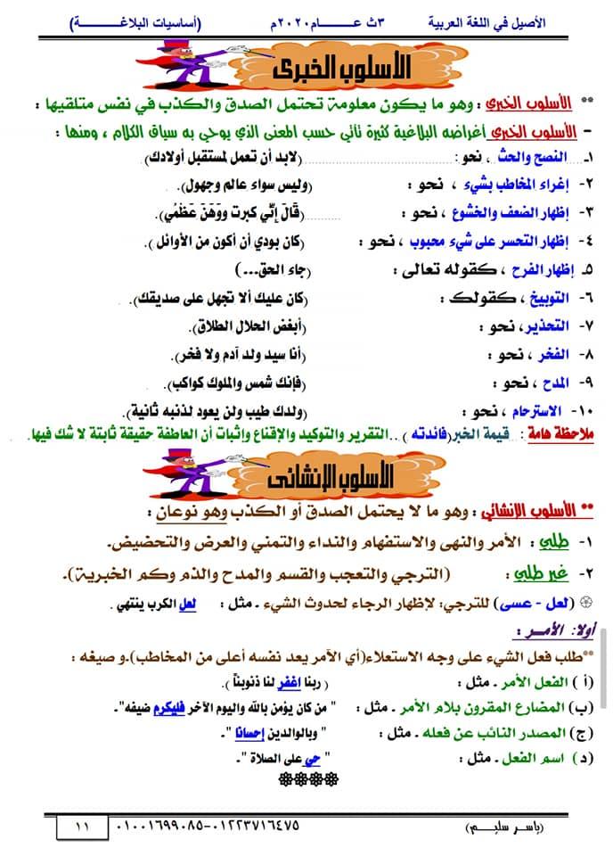 أساسيات البلاغة للثانوية العامة في١٥ورقة أ/ ياسر سليم 11