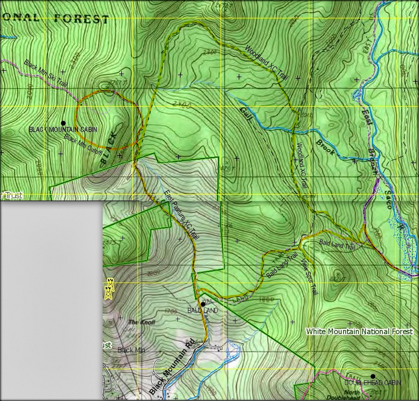 map showing trails involved in 2 hikes presented in this blog report click to enlarge