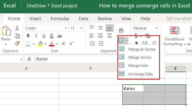 Cara Merge dan Unmerge cells di Excel
