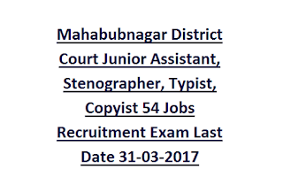 Mahabubnagar District Court Junior Assistant, Stenographer, Typist, Copyist 54 Jobs Recruitment Exam Last Date 31-03-2017