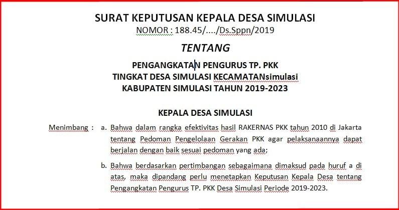 Keputusan Kepala Desa tentang Pengangkatan Pengurus TP Keputusan Kepala Desa tentang Pengangkatan Pengurus TP. PKK