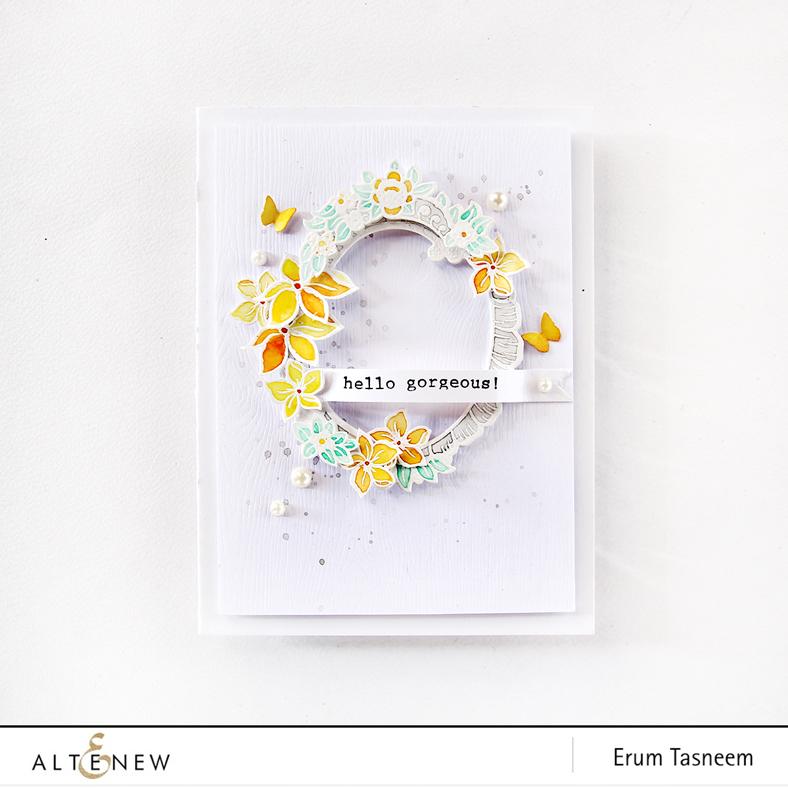 Altenew Sweet Friend Stamp & Die Set and Amazing You stamp set watercoloured by Erum Tasneem - @pr0digy0