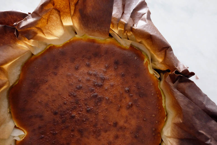 close up of Burnt Basque Cheesecake