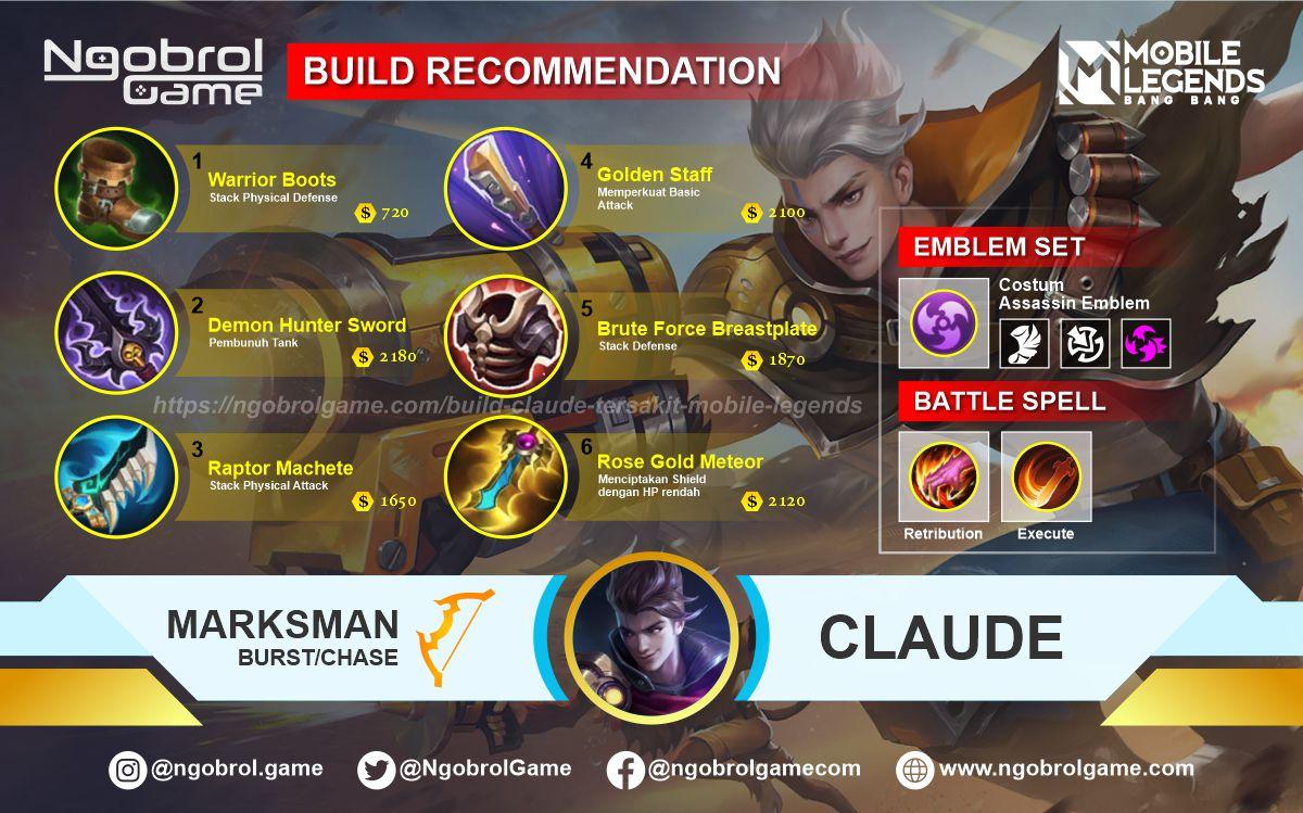 Build Claude  Top Global Tersakit Mobile Legends