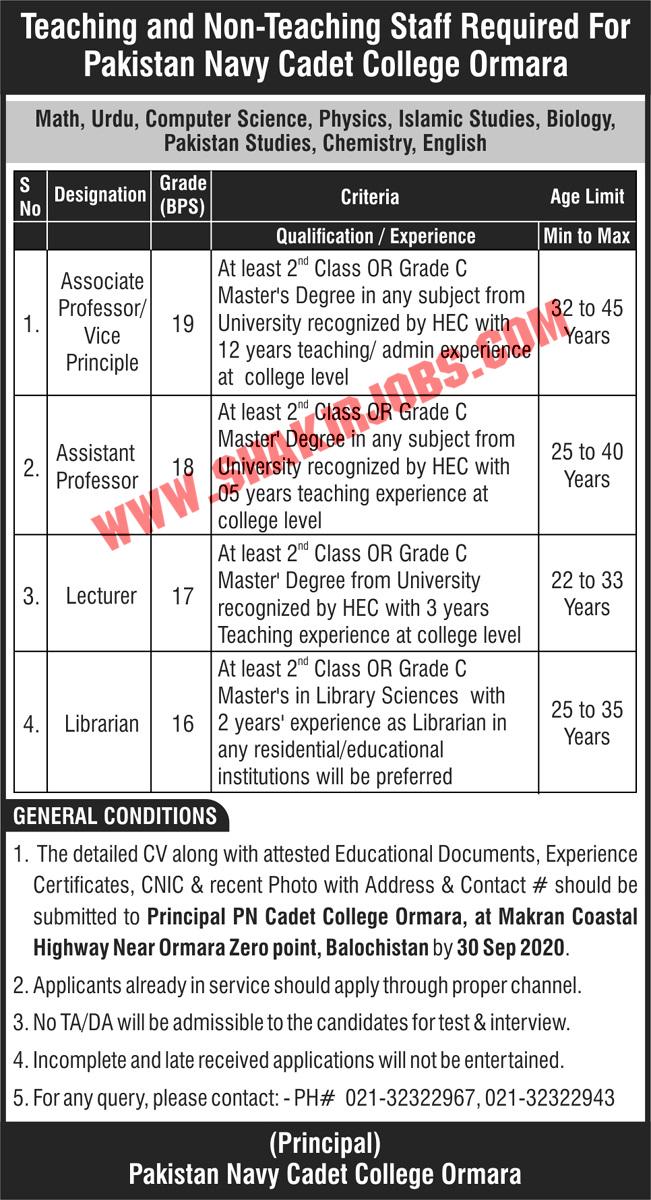 Jobs in Pakistan Navy Cadet College Jobs September 2020