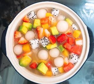 chè hoa quả trân châu