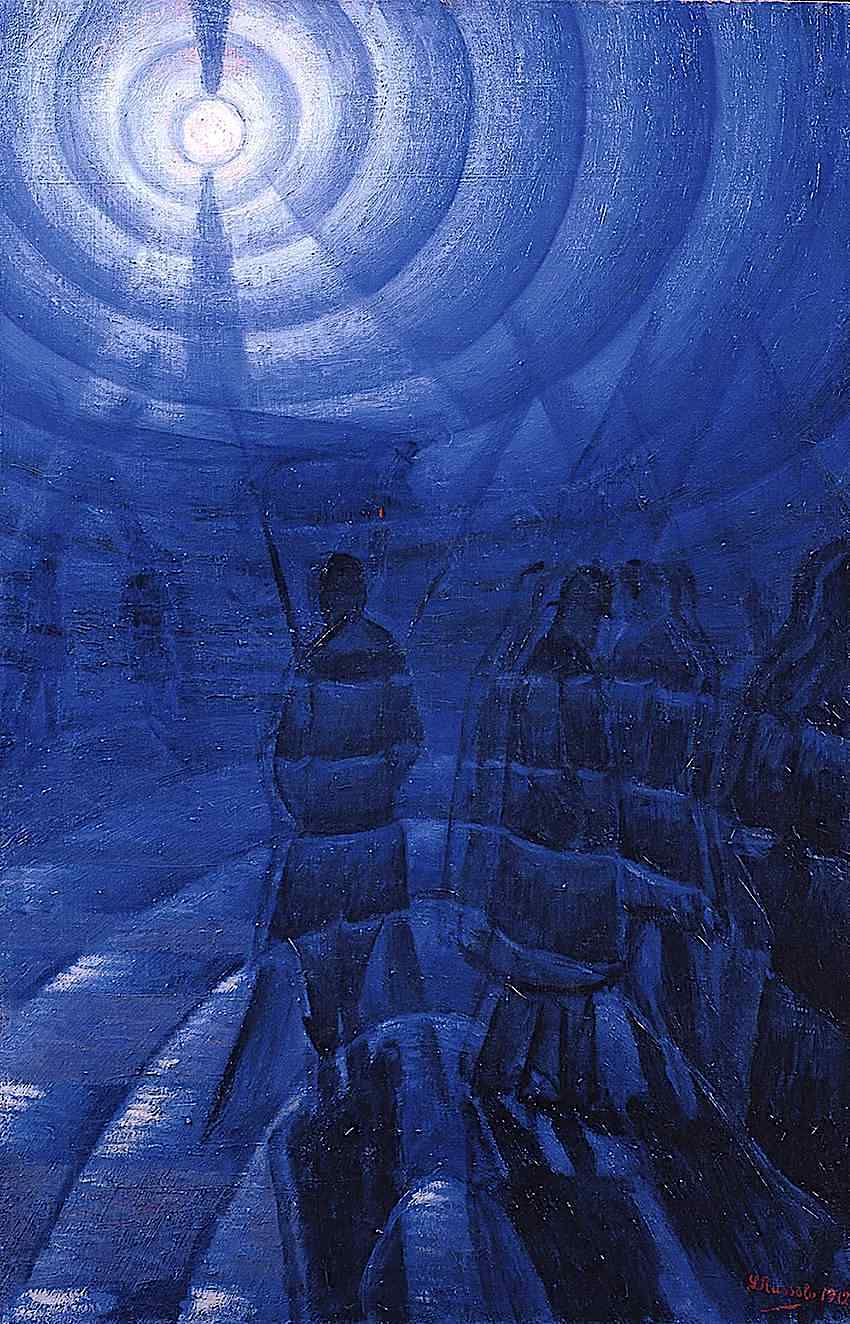 a 1912 Luigi Russolo painting of fog in blue