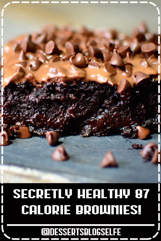 Have you ever wished you could have a huge, rich gooey brownie for under 100 calories? Well now you can with these zucchini brownies! #DessertsBlogSelfe #brownies #HealthyDesserts