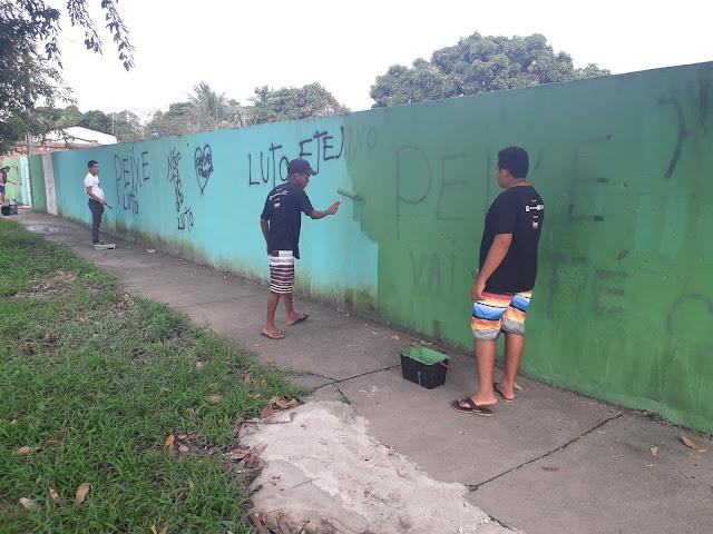 Revitalização do muro da Escola Municipal da Comunidade Massangana